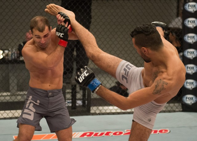LAS VEGAS, NV - JULY 17: (R-L) Mehdi Baghdad kicks Artem Lobov during the elimination fights at the UFC TUF Gym on July 17, 2015 in Las Vegas, Nevada. (Photo by Brandon Magnus/Zuffa LLC/Zuffa LLC via Getty Images) *** Local Caption ***