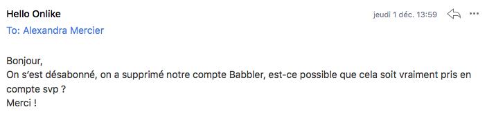 email désabonnement Babbler